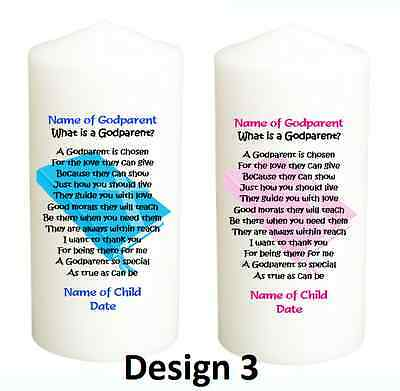PERSONALISED GODPARENT CANDLE, Godmother, Godfather, Christening, Baptism  Gift