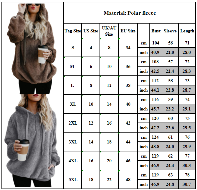 Womens Warm Fleece Hooded Sweatshrit Hoodies Winter Jumper Tops Coat Plus Size 3