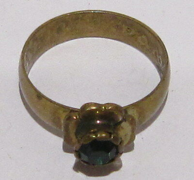 VINTAGE NICE BRONZE RING WITH GREEN STONE FROM THE EARLY 20th CENTURY # 1B 6