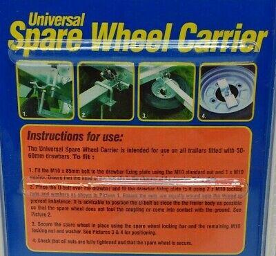 TRAILER SPARE WHEEL CARRIER KIT FOR 50-60mm DRAWBARS UNIVERSAL MAYPOLE MP195 5
