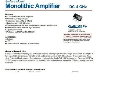 5pcs GALI-55 GALI-55 RF//MICROWAVE WIDE BAND LOW POWER AMPLIFIER