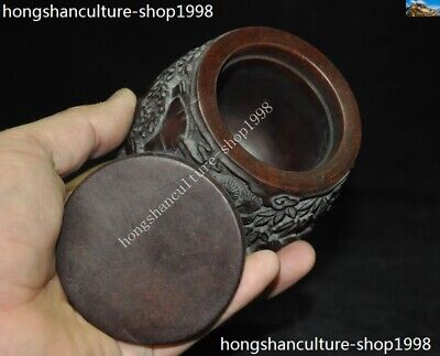 Marked Chinese Dynasty Ox horn Carved Pine tree Old Man Drum shape Box Boxes 11