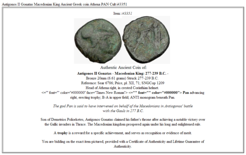 Antigonos II Gonatas Macedonian King Ancient Greek coin Athena PAN Cult  i43351 3