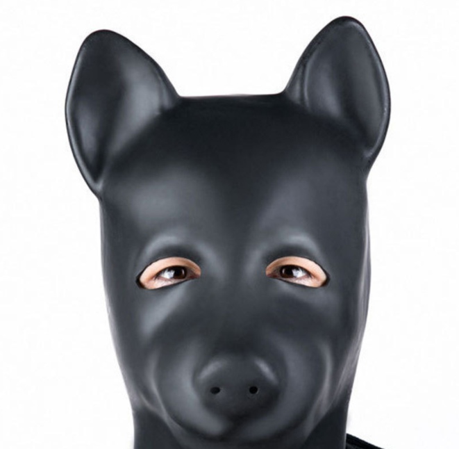 Unisex Latex Dog Mask with Zipper Closure and Eyes open Hood Role Play Head Mask