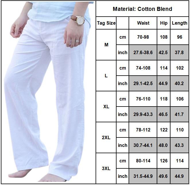 Mens Cotton Linen Loose Pants Summer Casual Beach Drawstring Trousers Slacks UK 9