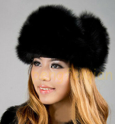 2e0c98fb197b5 ... Luxe Chapka Bonnet Femme Ouchanka Fourrure Vraie de Renard Véritable  Hiver Noel 5