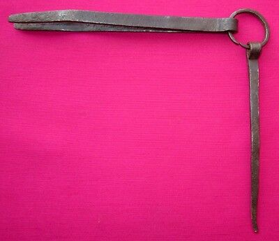 Antique Old Iron Engraved Handcrafted Unique Tongs / Tweezers
