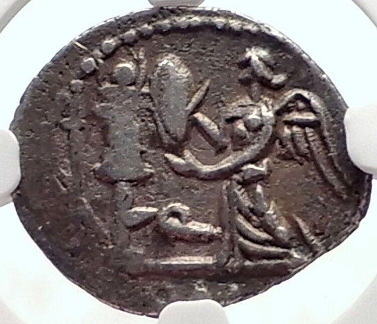 Roman Republic Ancient Silver Coin of Rome APOLLO TROPHY Quinarius NGC i70174 2