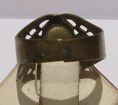 VINTAGE NICE BRONZE RING WITH RED STONE FROM THE EARLY 20th CENTURY # 66A 5