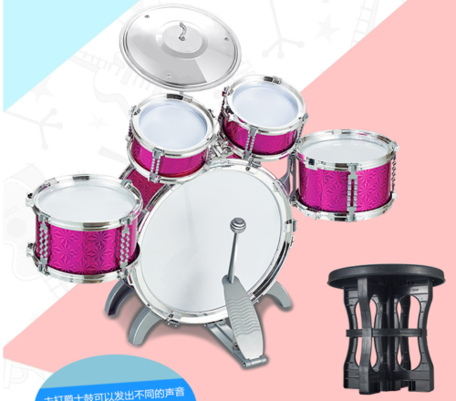 Blue / Red Junior Drum Kit For Kids - 3/5/6 Drum Set with Stool Childrens choose 5