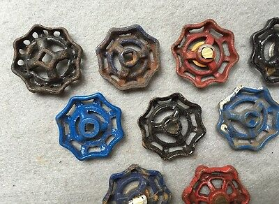 Lot Of 9 Vintage Heavy Metal Water Faucet Handles Knobs Valves Steampunk Lot#14 6