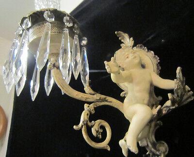 2 Antique French Cherub Spelter lamp Vintage Shabby sconce chic Paris Architectu 8