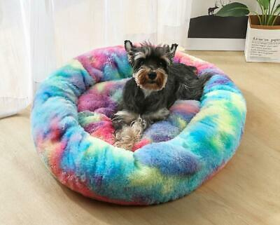 UK Pet Dog Cat Warm Plush kennel Calming Bed Round Nest Comfy Sleeping Cave Hot 3
