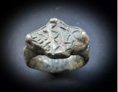 RARE ANCIENT ANCIENT HEAVY NEAR EASTERN GOLD BRONZE RING 1st CENTURY BC 2