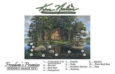 FREEDOM'S PROMISE TRILOGY by Kim Norlien 18x42 FRAMED PRINT Log Cabin Lake Bears