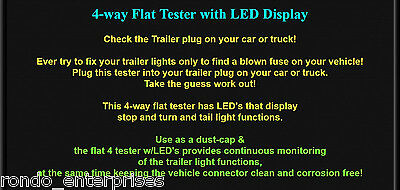TRAILER WIRING TESTER 4 way flat for vehicle side LED & dust cap ...
