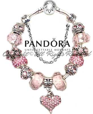 Authentic Pandora Bracelet Silver Pink Heart LOVE STORY with European Charms 3