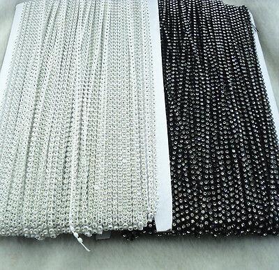 SS6 A Grade clear glass crystal 2mm Rhinestone banding white black Setting chain 2