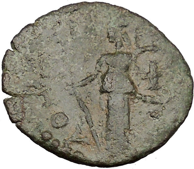 Athens Greece Authentic Ancient 264AD Greek Coin Statue of Athena RARE! i37091 2