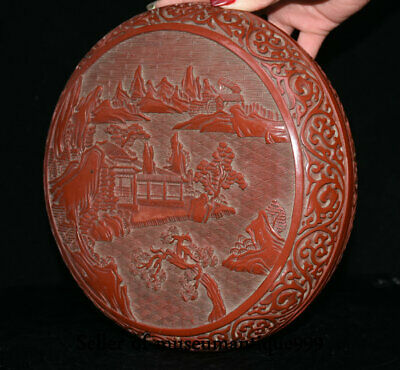 """9.6"""" Marked Old China Red Lacquerware Dynasty Hill River House jewelry Box 6"""
