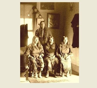 1892 Comanche Chief Quanah Parker PHOTO With 3 Wives, Indian Native American 2