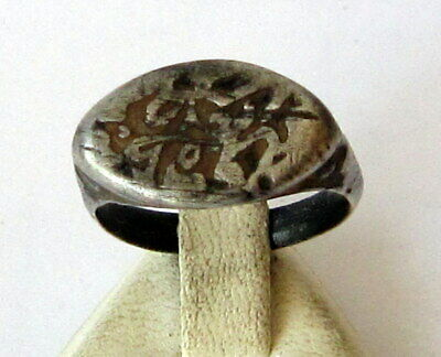 Fantastic Post Medieval Silver Ring Seal Engraving On The Side  # 750 2