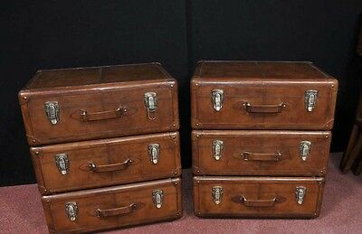 Pair English Leather Campaign Bedside Chests Nightstands Furniture 4