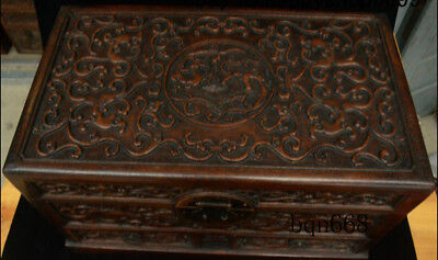 """16"""" China old Huang Huali Wood carving Dragon Beast Storage Jewelry Box Statue 4"""