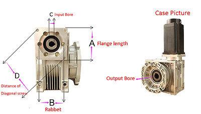 Nema34 Worm Gearbox Geared Speed Reducer 14mm Input Reduction for Stepper Motor 8