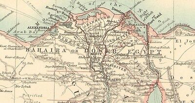 1911 Large Victorian Map ~ Egypt Arabia Petraea & Lower Nubia Cairo Nile 3