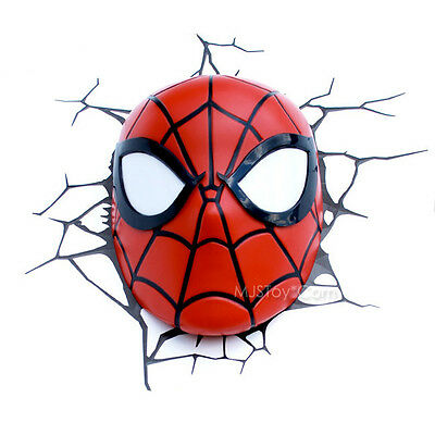 New marvel ultimate spider man mask face 3d deco wall art night 4 of 6 new marvel ultimate spider man mask face 3d deco wall art night light led mozeypictures Gallery
