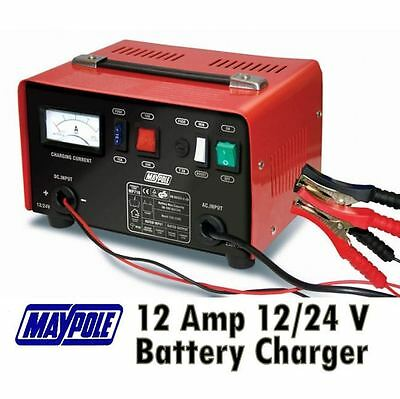 New MAYPOLE MP716 12A Metal Battery Charger 12/24V Fast/Boost Mode Robust Steel 6