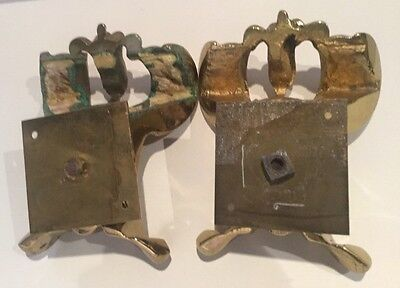 Pair of Antique Solid Brass Architectural Building Fragments 7