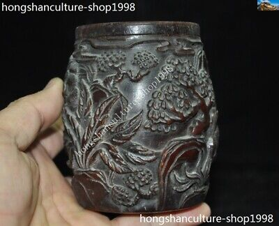 Marked Chinese Dynasty Ox horn Carved Pine tree Old Man Drum shape Box Boxes 7