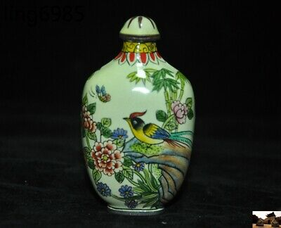 marked old chinese pure copper Cloisonne Magpie Bird Peony Pattern Snuff bottle 4
