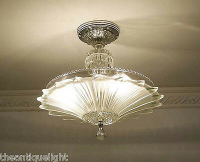 334 Vintage 30's 40's Ceiling Light Lamp Fixture  Chandelier Re-Wired SUNFLOWER 4