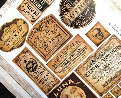 Halloween Potion Labels, Vintage Style Apothecary, Uncut Sticker Sheet 14 Labels 3