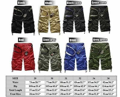 Mens Cargo Shorts Pants Army Combat Tactical Military Long Trousers Multi-Pocket 8