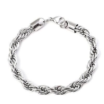 Kordelkette Armband Edelstahl Silber Anhänger Halskette Damen Herren Geschenk