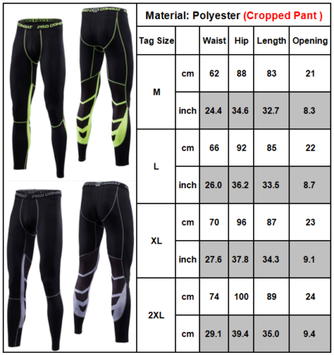 Men Fitness Jogger Pants Tight Compression Base Layer GYM Sport Workout Leggings 9 9 of 12 ...
