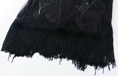 New 1920s vintage gatsby flapper charleston sequin tassels black dress UK XS-XL