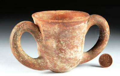 Hellenistic Greek Redware Cup w/ Twin Handles Lot 32D