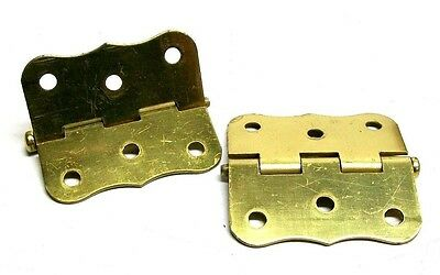 "Lot Of 2 (1 Pair) Vintage 3"" Steel Dull Brass Screen Door Hinge With Screws Dm 3"