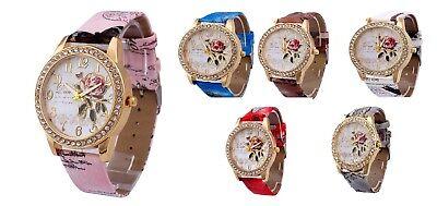 Geneva Platinum Crystal Ladies Women Girl Stainless Steel Quartz Wrist Watch Uk