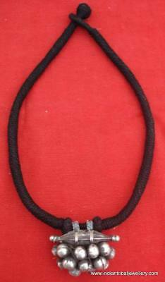 Ancient Antique Tribal Old Silver Pendant Necklace Indi