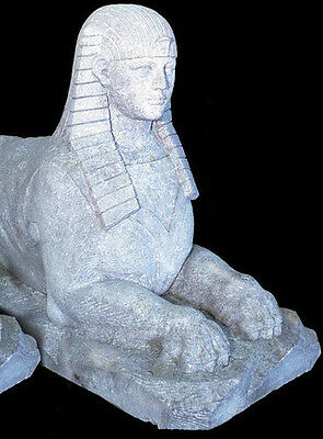 Antique Limestone Sphinx Statues, A Pair  #8314