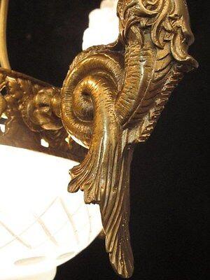 chandelier BRONZE & GLASS w/ MERMAIDS  sculptures 3