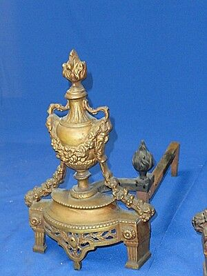 PAIR of ANTIQUE BRONZE LOUIS XVI REVIVAL CHENET ANDIRONS with GORGON * FANTASTIC 2