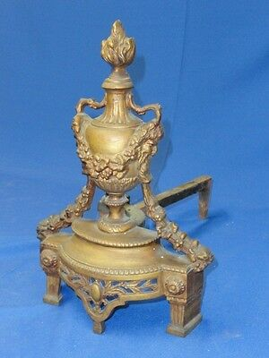 PAIR of ANTIQUE BRONZE LOUIS XVI REVIVAL CHENET ANDIRONS with GORGON * FANTASTIC
