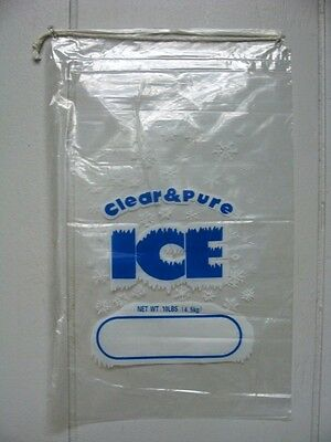 Clear & Pure Ice 10 Lb Drawstring Ice Bags *100 Count Lot* Free Shipping